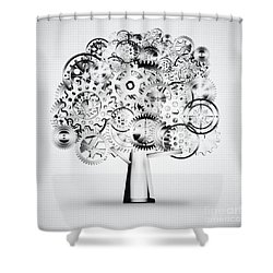 tree of industrial shower curtain