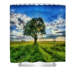 Shower Curtain featuring the painting Tree Of Life by Joe Misrasi