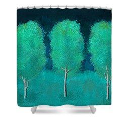 Trees In Triplicate Moonlit Winter Shower Curtain