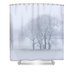 Trees Seen Through Winter Whiteout Shower Curtain by John Short
