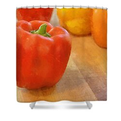 Tri Colored Peppers Shower Curtain