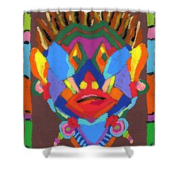 Tribal Mask Shower Curtain by Stephen Anderson