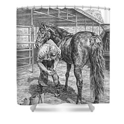 Trim And Fit - Farrier With Horse Art Print Shower Curtain