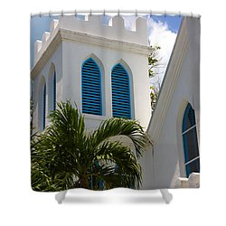 Shower Curtain featuring the photograph Trinity Presbyterian Church Tower by Ed Gleichman
