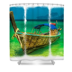 Triptych Longboat Shower Curtain by Adrian Evans