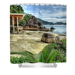 Tropical Beach Shower Curtain by Adrian Evans