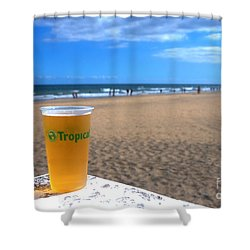 Tropical Beer On The Beach Shower Curtain by Rob Hawkins