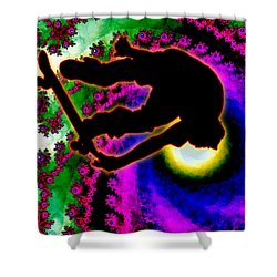 Tropical Hurricane Eye With Skateboarder Shower Curtain by Elaine Plesser