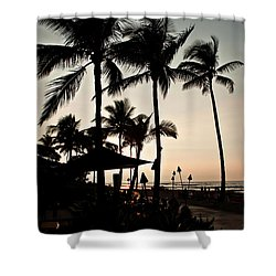 Tropical Island Silhouette Beach Sunset Shower Curtain by Valerie Garner
