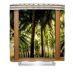 Tropical Jungle Paradise Window Scenic View Shower Curtain by James BO  Insogna