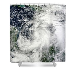 Tropical Storm Sandy Hovering Shower Curtain by Stocktrek Images