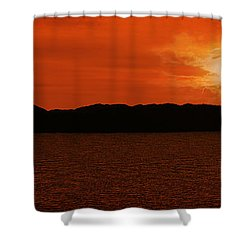 Tropical Sunset Shower Curtain by Lourry Legarde