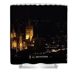 Truro Cathedral Illuminated Shower Curtain by Brian Roscorla
