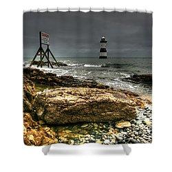 Trwyn Du Lighthouse Shower Curtain by Adrian Evans