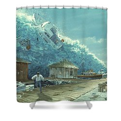 Tsunami Shower Curtain by Chris Butler and Photo Researchers
