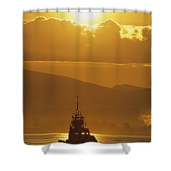 Tugboat At Sunrise, Burrard Inlet Shower Curtain by Ron Watts