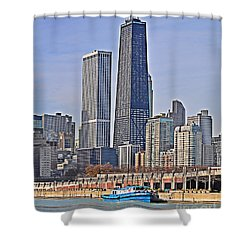Tugboat On The Chicago River Shower Curtain by Mary Machare