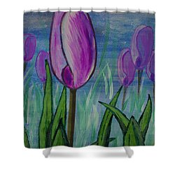 Tulips In The Mist Shower Curtain by Mick Anderson