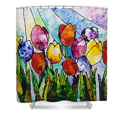 Tulips On Parade Shower Curtain by Sally Trace
