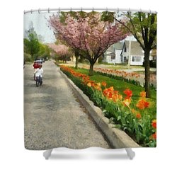 Tulips On The Boulevard Holland Michigan Shower Curtain