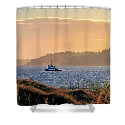 Shower Curtain featuring the photograph Twilight Tug -chambers Bay Golf Course by Chris Anderson
