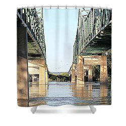 Shower Curtain featuring the photograph Twin Bridges by Elizabeth Winter