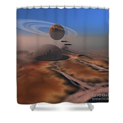 Two Aircraft Fly Over Domes Shower Curtain by Corey Ford