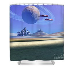 Two Aircraft Guard This Alien Planet Shower Curtain by Corey Ford