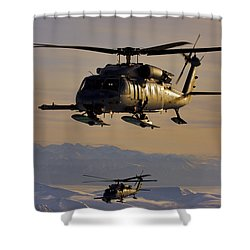 Two Alaska Air National Guard Hh-60g Shower Curtain by Stocktrek Images