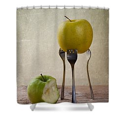 Two Apples Shower Curtain by Nailia Schwarz