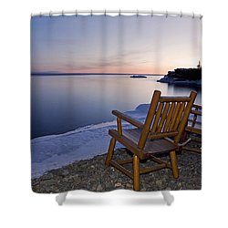 Two Chairs At Waters Edge Looking Out Shower Curtain by Susan Dykstra
