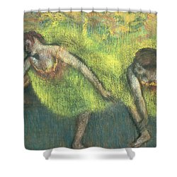 Two Dancers Relaxing Shower Curtain by Edgar Degas