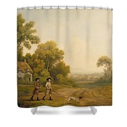Two Gentlemen Going A Shooting Shower Curtain by George Stubbs