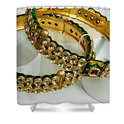 Two Green And Gold Bangles On Top Of Each Other Shower Curtain by Ashish Agarwal