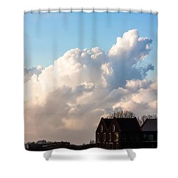 Two Houses One Cloud Shower Curtain by Semmick Photo