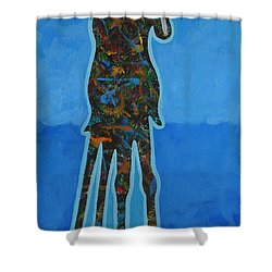 Two In Blue Shower Curtain by Lance Headlee