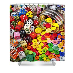 Two Jars Dice And Buttons Shower Curtain by Garry Gay