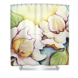 Shower Curtain featuring the painting Two Magnolia Blossoms by Carla Parris