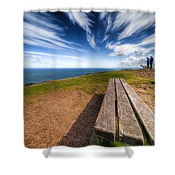 Two Men And A Dog Shower Curtain by Adrian Evans