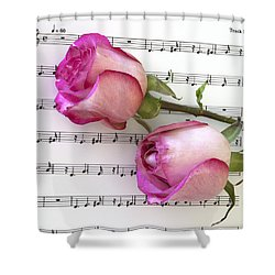 Two Red Roses And Wine Shower Curtain