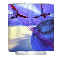 Two Spacecraft Fly Back To Their Home Shower Curtain by Corey Ford