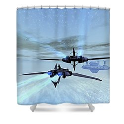 Two Spacecraft Fly Back To Their Space Shower Curtain by Corey Ford