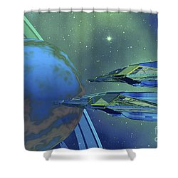 Two Spacecraft Fly To Their Home Planet Shower Curtain by Corey Ford