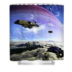 Two Spacecraft Prepare To Depart Shower Curtain by Brian Christensen