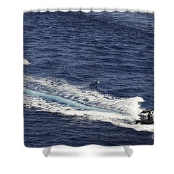 Two Spanish Navy Ridged-hull Inflatable Shower Curtain by Stocktrek Images