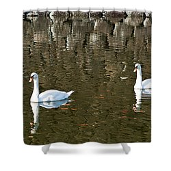 Two Swan Floating On A Pond  Shower Curtain by U Schade