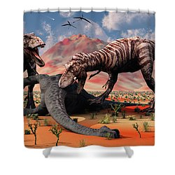 Two T. Rex Dinosaurs Feed Shower Curtain by Mark Stevenson