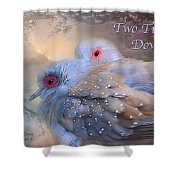 Two Turtle Doves Card Shower Curtain by Carol Cavalaris