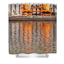 Shower Curtain featuring the photograph Two Wooden Chairs by Les Palenik