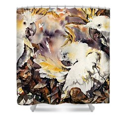 Shower Curtain featuring the painting Two's Company by Rae Andrews
